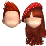 Audition-Red Short Spiky Hairstyle & Red Polka Beret Red Brown