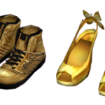 Front Gold Wing Shoes – Back Gold Butterfly Shoes