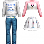 TrickOrTreat Man-To-Man T-Shirt Color Is Very Pretty Blue JeanNeko+ Twintail T-Shirt Style Vintage Skirt