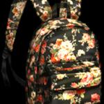 Floral Pattern Black Backpack